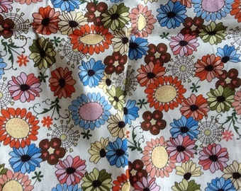 Floral print quilt fabric cotton blue red green flowers