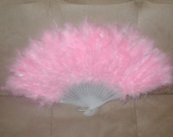 Vintage pink Feather Folding Fan