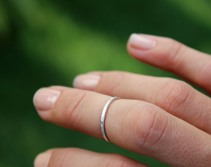 Simple Silver Midi Ring or Stacking Ring