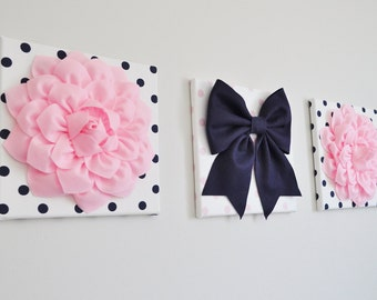 Set of Three - Light Pink and Navy Polka Dot Wall Art - Baby Nursery Wall Decor - Flowers and Bow Art