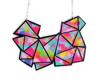 Colorful Geometric Necklace, Rainbow Chevron Triangle Statement Necklace, Modern Geometric Jewelry, Hand Painted Leather Jewelry