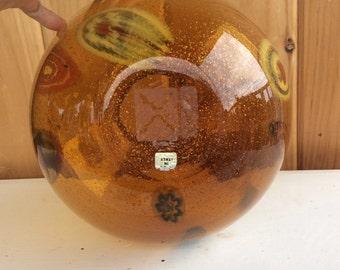 1940's hand blown chevron glass vase