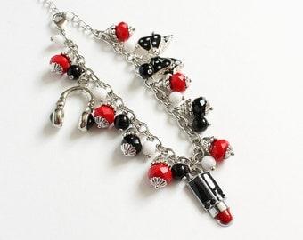 Black Red White Ladies Charm Bracelet