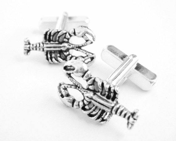 You Are My Lobster Gift Him - 25th Wedding Anniversary Gift Husband - Youre My Lobster Clothing - Silver Men Cufflinks - Marine Wedding -