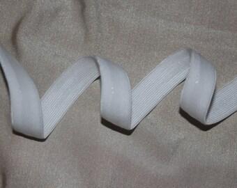 "3 yards White flat lingerie bra strap elastic No Slip silicone stripe back 3/8"" wide"