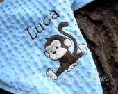 Personalized baby blanket- monkey baby blanket dusty blue and brown- 30x35 stroller blanket- name baby blanket
