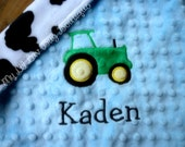 Personalized Baby Blanket- baby blue and cow print  baby boy tractor- 14x14 baby lovey blanket