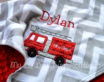 Personalized baby blanket- fire engine baby blanket with name- baby boy red and black with grey chevron- stroller blanket