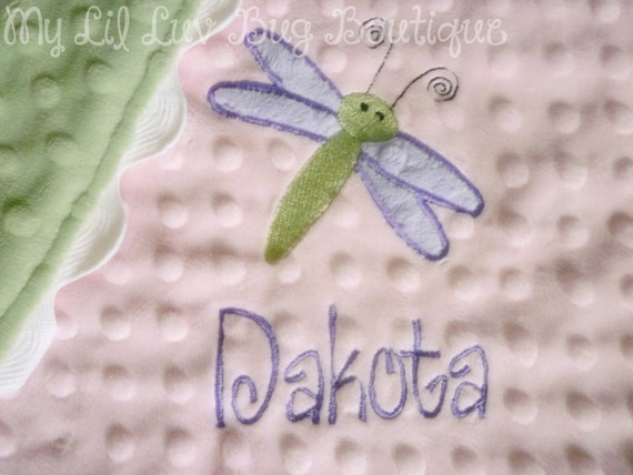 Lil Lovey-personalized baby blanket minky- girl dragonfly pink green and lavender- lovey blanket