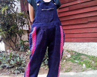 100 percent hemp overall with indigo batik/embroidery for Men