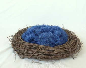 Feathery Texture Blue Baby Blanket Photo Prop in Bluebird colors