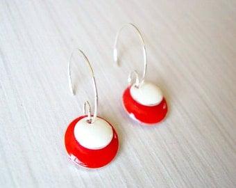 Red Earrings - Enamel Jewelry, Silver Hoops, Modern, Geometric, White, Simple, Bold