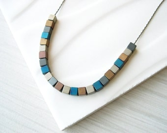 Contemporary Jewelry - Mixed Metal, Modern Necklace, Metallic, Hematite, Cubes, Stone, Gold, Silver, Matte, Simple