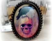 Gothic Jewelry Edgar Allen Poe the Raven Skull Jewelry Gift for Poetry Lover Horror Enthusiast
