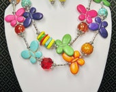 Butterfly Chunky Statement Necklace Set / Cowgirl Butterfly Necklace / Multicolor Necklace / Statement Jewelry  - RaiNBoW BuTTerFLieS 3