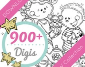Complete Collection DOWNLOAD 900+ Digi Stamps, Meljen's Designs B&W Digital Stamps - Cute Animal Digi Stamps Cute Kid Stamps Scrapbooking