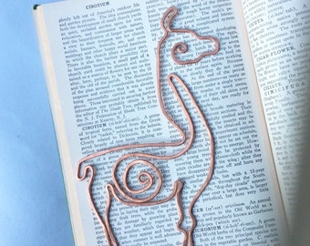 Llama bookmark in copper