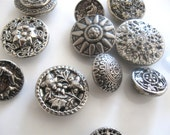 Vintage Silver Metal Button Collection Floral Button Hunting Scene Button Sunflower Button Filigree Button