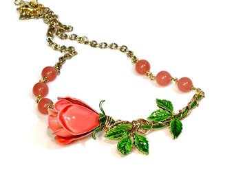Upcycled Recycled Repurposed Flower Necklace Coral Pink with Gemstones, Gift for Her
