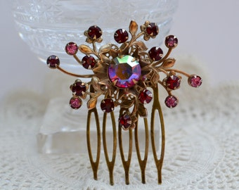 Vintage Rhinestone Hair Comb, Bridal Headpiece, Wedding Hair Comb, Red and Gold Brooch, Red Flower Headpiece, Sparkly Red Rhinestone Comb,
