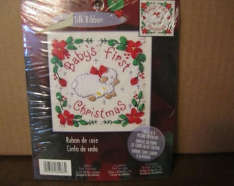 DESTASH /// Vintage Christmas Silk Ribbon and embroidery kit, Baby's First Christmas, by Bucilla, 5 x 5 inch , Christmas Craft projects