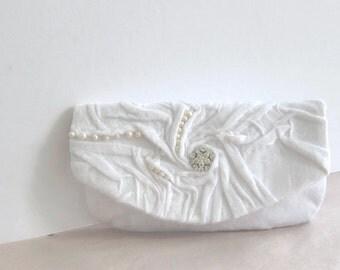 Bridal Clutch Love. White Silk plush Clutch with swarovski crystal pearls Wedding handbag Bridal purse , Real Pearls