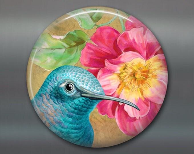 "Hummingbird art for kitchen - bird lover gift for her - kitchen decorations - 3.5"" fridge magnet - MA-1921"