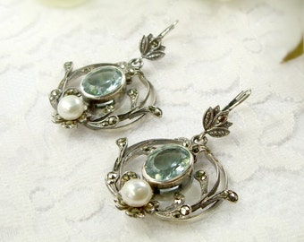 Vintage marcasite earrings with paste aquamarine and freshwater pearl || ЖЕМЧУГ