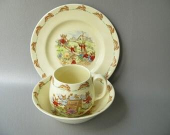 Vintage Bunnykins Set, Child's China, Royal Doulton, bowl, Plate, Cup