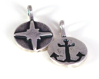 Sterling Silver Doubled Sided Anchor And North Star Charm Necklace, JewelryByNaomi, Nautical jewelry, Nautical Charms, Religious Charms