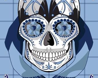 Sporting KC Soccer Sugar Skull 11x14 Print