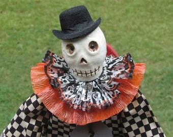 Halloween Doll, Skull Doll, Halloween Skeleton, Orange and Black, Checked, Primitive Halloween, Halloween Decor, Black and White, Primitive