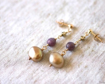 Gold Freshwater Pearl and Ruby 14K Gold Filled Earrings