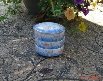 Vintage O M C Japan Otagiri - Blue Iris Three Tier Trinket /Jewelry box - Like New