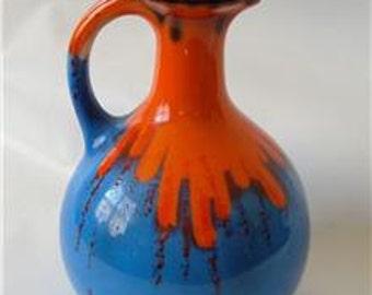 Antique Art Deco Czech Pottery Vase Ewer Controlled Drip Glaze Blue Orange Vintage