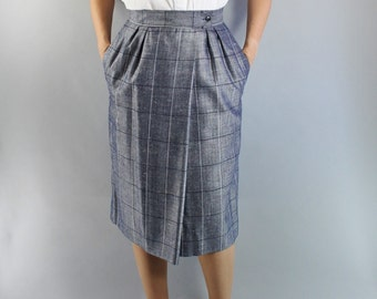 SALE - Vintage 80s does 50s Womens Slate Blue Sharkskin Pencil Skirt // Pinup Skirt
