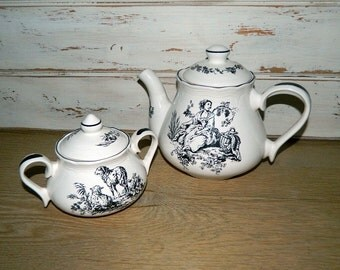 Tabletops Unlimited New England Toile - Black and White Teapot Or Sugar Bowl