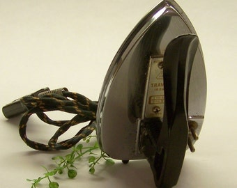 Vintage Travel Iron with Folding Handle, Braided Fabric Wrapped Detachable Cord, 1950s Laundry Room Decor