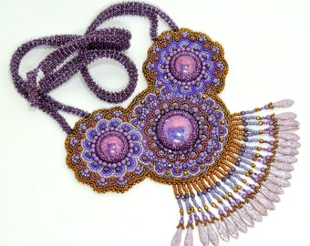 Purple and Copper necklace Bead Embroidery Mandala Fringe