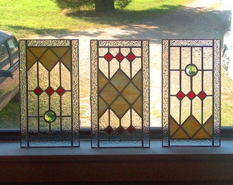 CUSTOM Sidelight Stained Glass Panel - Art Deco Style