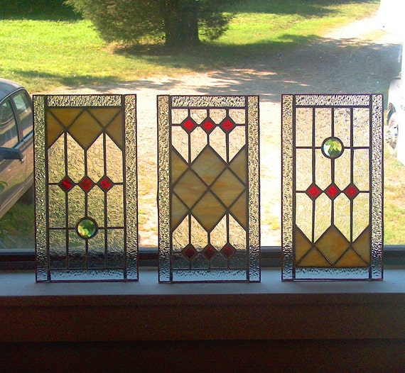 Custom Sidelight Stained Glass Panel Art Deco Style