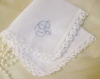 Embroidered Handkerchief, Hanky, Hankie, Monogrammed, Personalized, Hand Crochet, Lace, Something Blue, Bridal, Bridesmaids, Ships Quickly