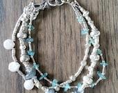 Sea and Shore  Silver Three Strand Bracelet