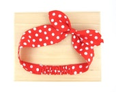 Red Fabric Headband Knot Bow Wide Headwrap, Two Styles in One