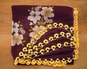 Scarf with crochet beaded edging, maroon yellow