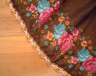 brown turkish scarf with beaded trim