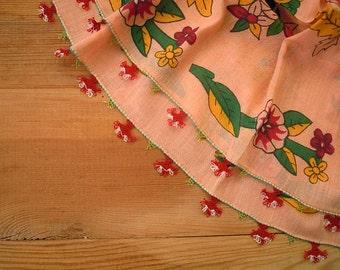 cotton scarf, peach, needle lace edging, oya scarf