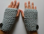 Chunky Knit Fingerless Texting Mittens - Gauntlets - Black Wood Buttons -  Available in 3 Colors