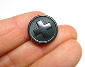 Swiss Army Button Vintage New Old Stock Switzerland Military Charcoal Grey Round Cross Rare Sewing DiY Bakelite Repair Projects Etsycij