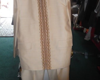 Retro Nehru Cream Silk Suit, sz S Pants, M/L Jkt.